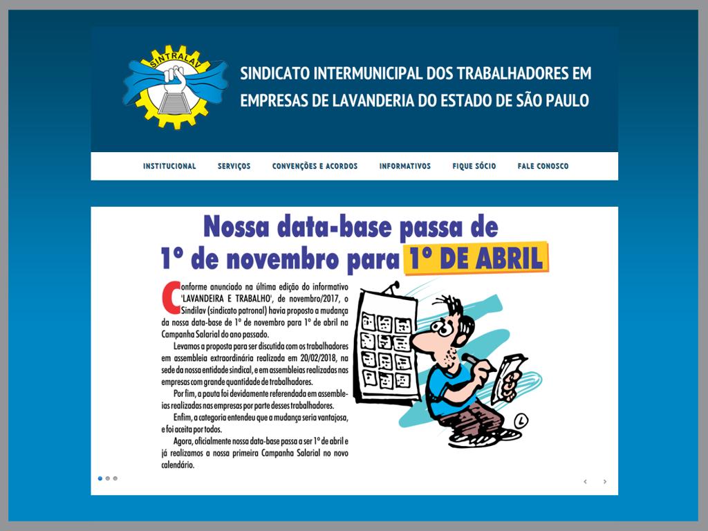Thumbnail da homepage do site sintralav.org.br